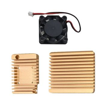 Mini Router CNC Metal Enclosure Cooling Case Protective Cover with Cooling Fan for NanoPi R2S Mini Router Radiator universal aluminum alloy cooling enclosure metal case for nanopi r1s r2s router x6ha