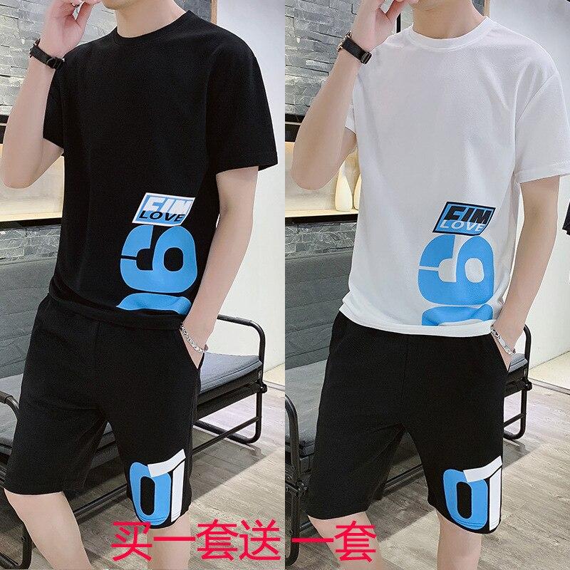 Summer Set Men's Trend Korean-style Loose-Fit Teenager Online Celebrity Leisure Suit Sports Clothing Four-piece Set MEN'S Short