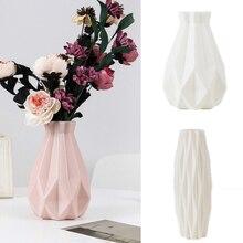 Florero de decoración para casa de flores, florero de plástico blanco de imitación de cerámica, maceta, cesta de flores, jarrones de decoración nórdica para flores