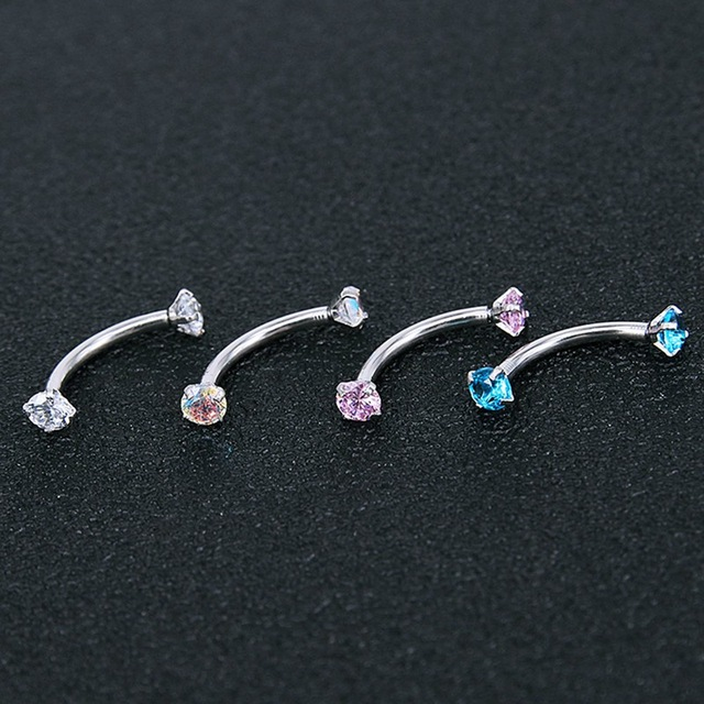 2Pc Titanium Anodized Internally Threaded Prong Top Gem Eyebrow Ring Piercing Zircon Eye Nail Ring Tragus Earring
