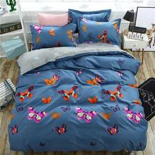Blue Butterfly 4pcs Kid Bed Cover Set Cartoon Duvet Cover Adult Child Bed Sheets And Pillowcases Comforter Bedding Set 2TJ-61004(China)