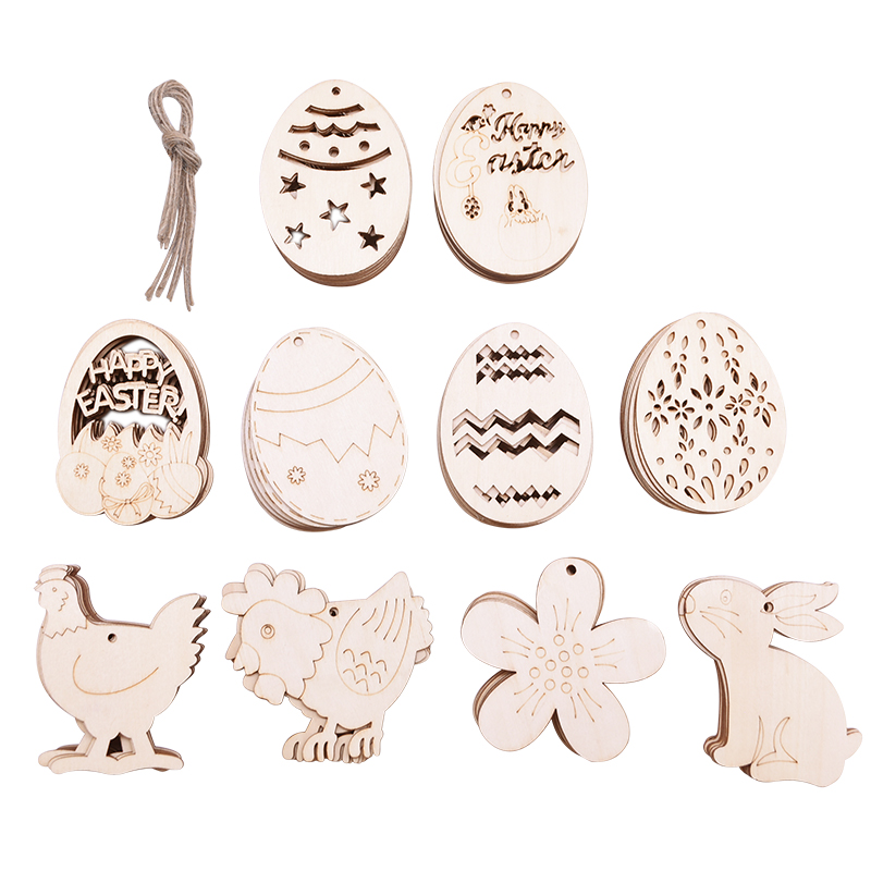 10PCS Easter Wooden Decorations Easter Party Decorations Ornament Hanging Tag For Happy Easter Decorations For Home Easter Decor