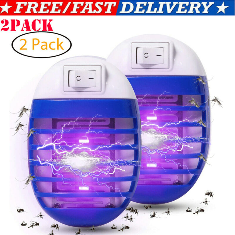 2PCSMosquito Killer Lamps LED Socket Electric Mosquito Fly Bug Insect Trap Killer Zapper Night Lamp Lights Lighting US