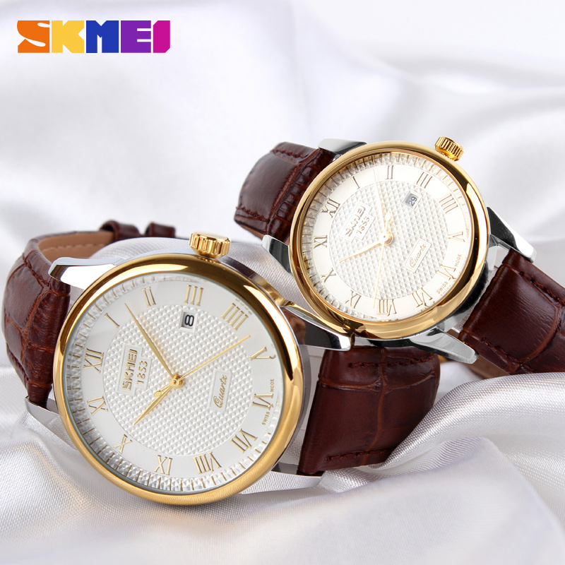 SKMEI Couple Watch Quartz Women Men Watch Luxury Leather Strap Wrist Watch Date Display Dress Watches Relogio Masculino 9058