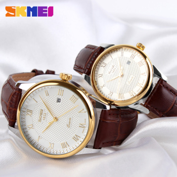 SKMEI Couple Watch Quartz Women Men Watch Luxury Leather Strap Wrist Watch Date Display Dress Watches relogio masculino 9058