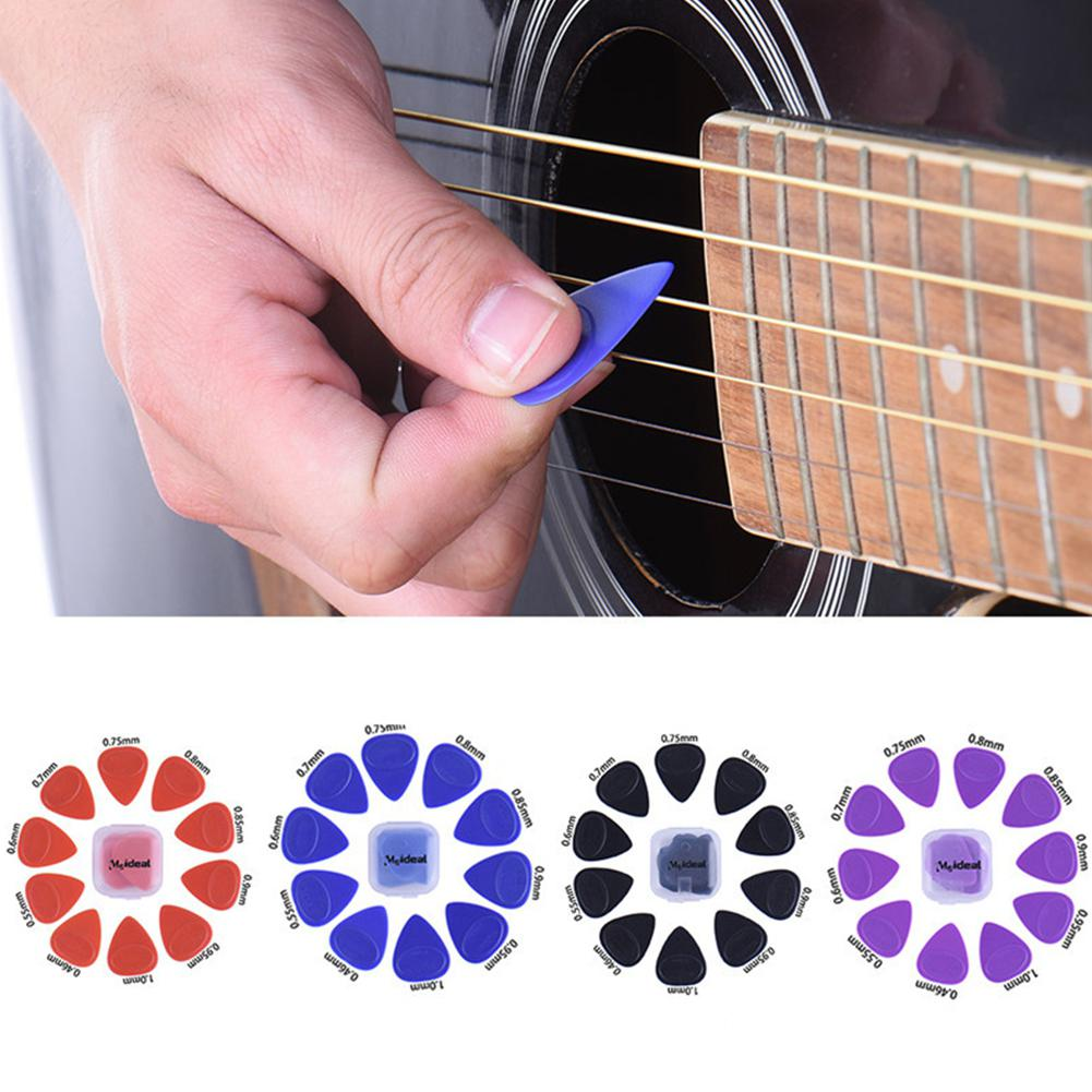 10pcs/set Guitar Picks Different Thickness Guitar Bass Celluloid Pick Electric Guitarra Plectrums Accessories With Plastic Box