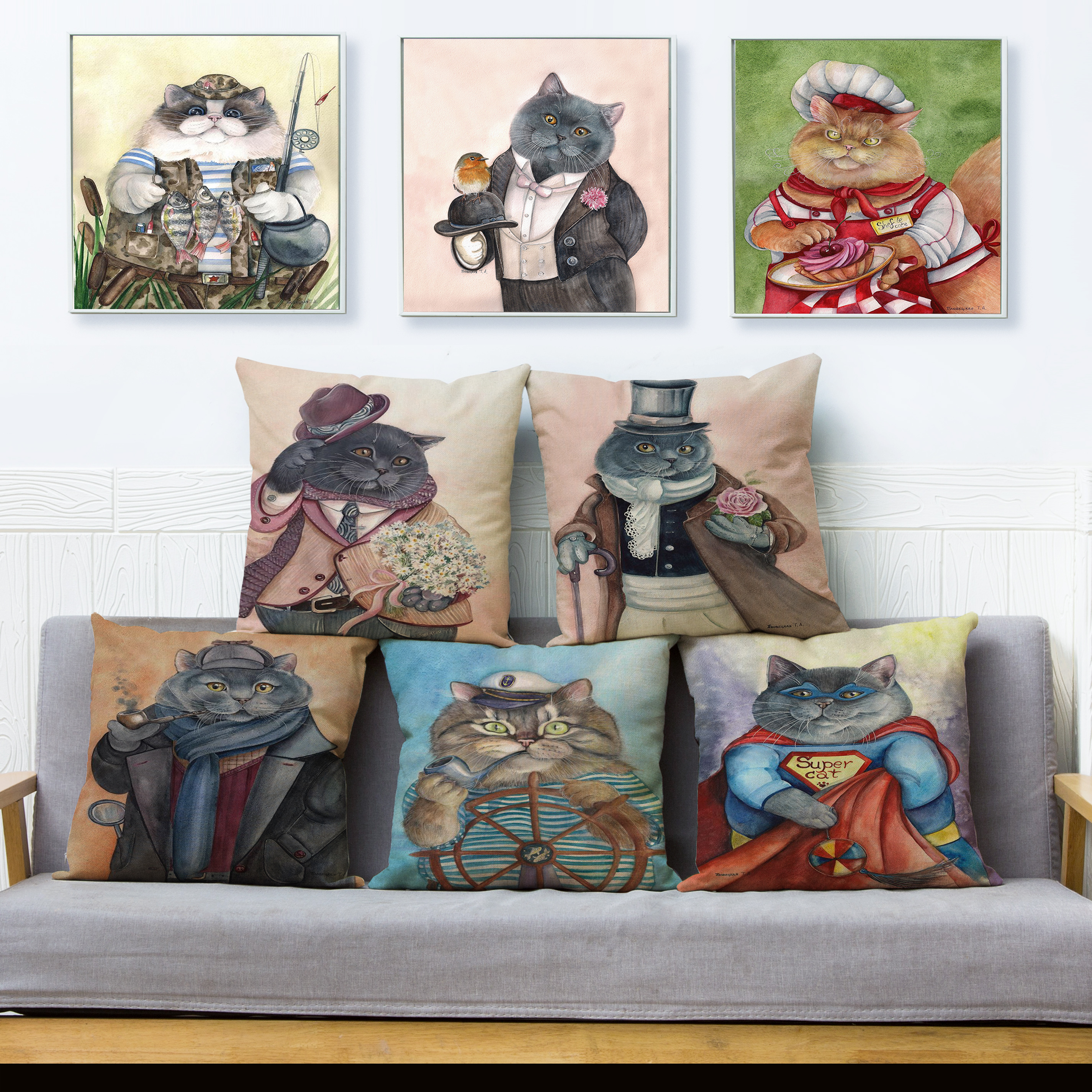 12 Styles Cartoon Cats Print Cushion Cover Custom 45*45cm Linen Pillow Covers Throw Pillows Cases Sofa Home Decor Pillowcase