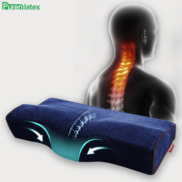 Purenlatexメモリ保護頚椎枕整形外科大人老人ネックサポート輪郭のマッサージベッド睡眠学生