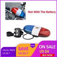 1 шт., велосипедный звонок, 6 светодиодный, 4 тона, велосипедный рог, велосипедный звонок, светодиодный, полицейский светильник, Электронная сирена, Детские аксессуары для велосипеда, скутера