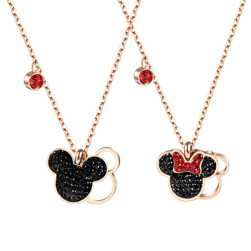 Disney Cartoon Mickey Mouse Lady Doll Accessories Necklace Jewelry Women Gift Clothing Accessories Pendant Chain
