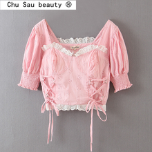 Chu Sau beauty Women Summer Cropped Tops Women Vintage Casual Square Collar Straps Puff Sleeves Lace Palace Tops Female Blousess