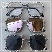 sunglasses women fashion rhinestone square large frame eyewear mirror anti-relac