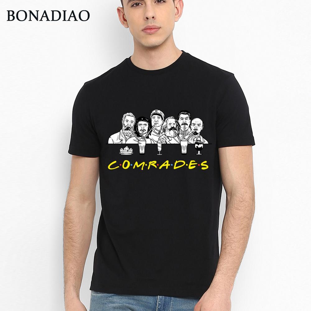 Communist Friends Comrades Marxism T Shirt Marx Engels Lenin Stalin And Mao Zedong T Shirt Novelty Unique Design Man T-shirt