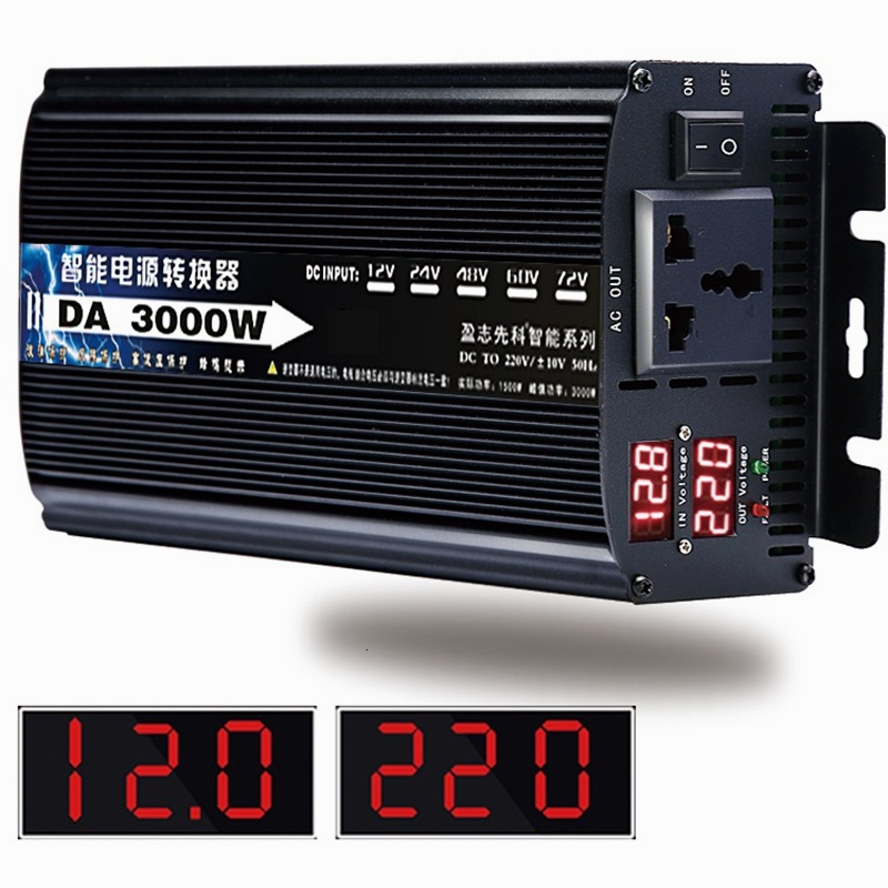 Inverter 12v/24v To AC 220v 50HZ 1500w 1600w 2000w 3000w Voltage transformer Power Converter Solar For Car Inverter Househol DIY
