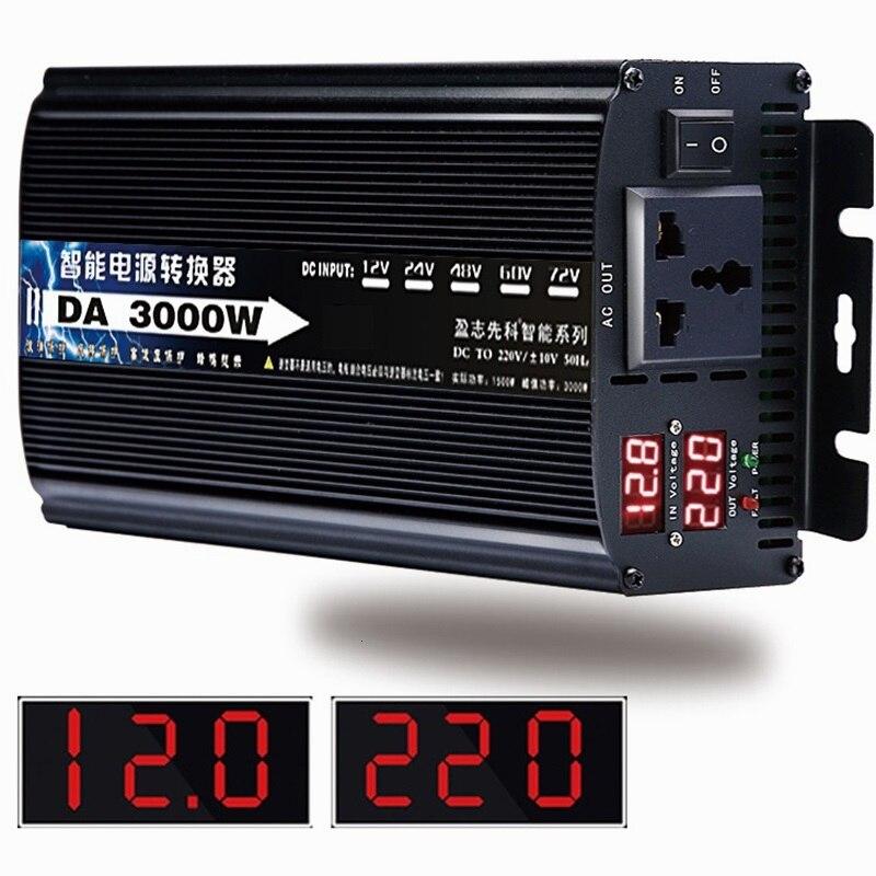 Onduleur à onde sinusoïdale Pure DC 12v 24v à ca 220v 50HZ 1500w 1600 2200w 3000w convertisseur de puissance Booster pour voiture onduleur ménage bricolage