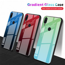 Tempered Glass Case untuk Xiaomi Redmi Note 7 6 K20 Pro Glossy Stained Gradien Warna-warni untuk Redmi 7 6A 6 PRO 5 Plus(China)