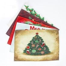 Merry Christmas Table Mat Decor Santa Snowman Pattern Pads Bowl Fork Linen Placemats Xmas Gift Navidad 44x31cm