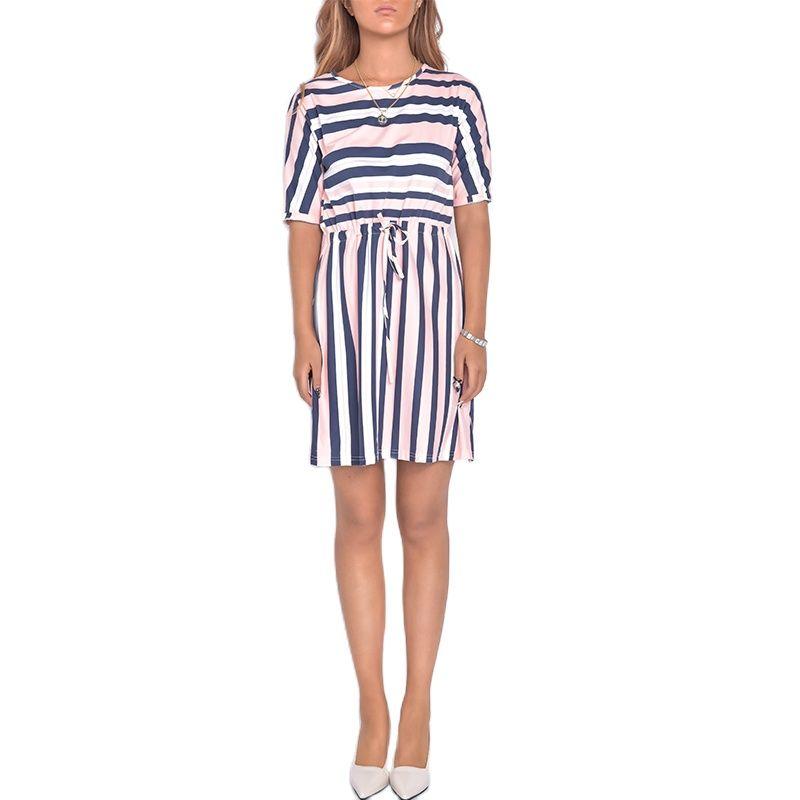Women's Dress Traf Summer Dresses Beach Harajuku Short Sleeve Robe Waist Belt Dress Shirt Sukienka Night Sleepwear Underwear Nig