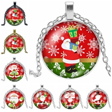 2019 Hot Sale of The Latest Christmas Cartoon Santa Claus Pattern Series Glass Cabochon Pendant Necklace Fashion Jewelry Gift