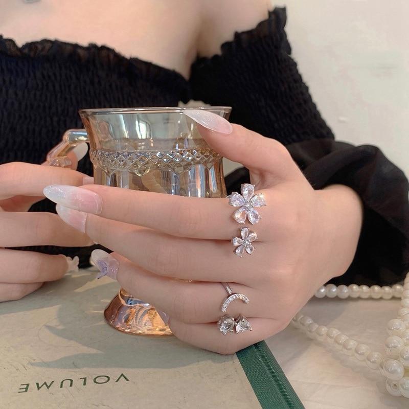 Женские кольца с цветком mengjiqiao элегантные регулируемые