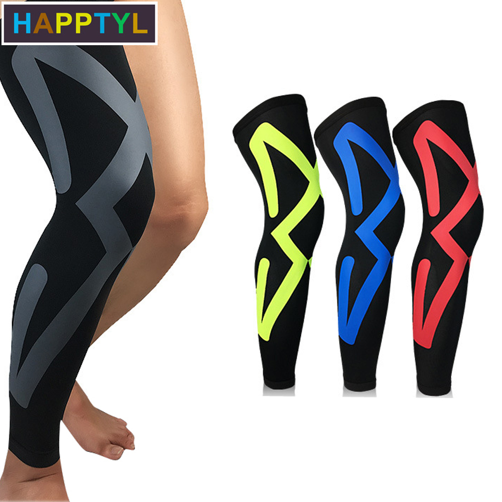 HAPPTYL 1Pcs Compression Leg Sleeves, Leg Knee Long Sleeves Knee Support For Football Baseball Basketball Running Cycling
