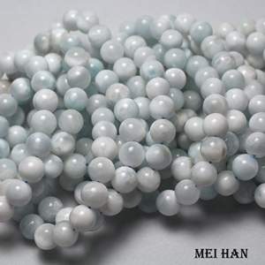 Image 1 - Wholesale 10 10.5mm (1 bracelet/set) natural cheap Dominica larimar bracelet for jewelry DIY making design