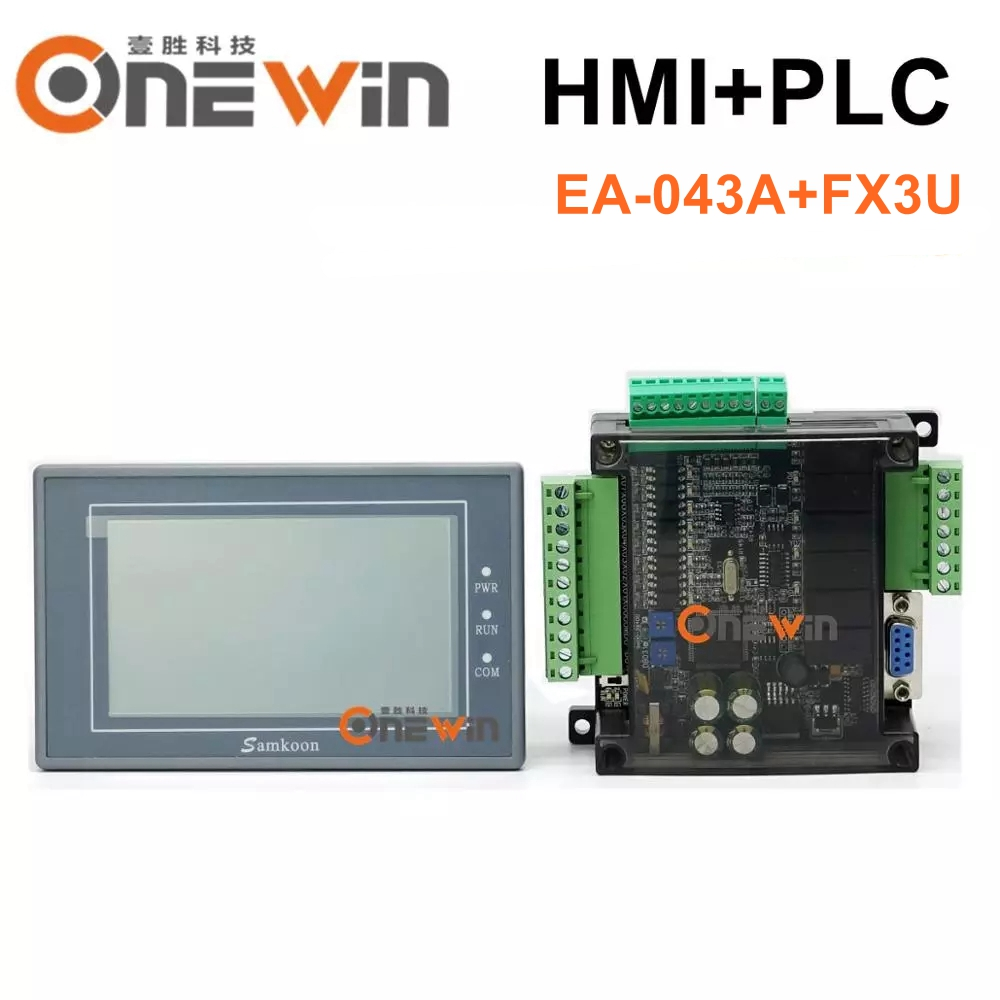 Samkoon EA-043A HMI Touch Screen 4.3 Inch And FX3U Series PLC Industrial Control Board RS485 With DB9 Communication Line