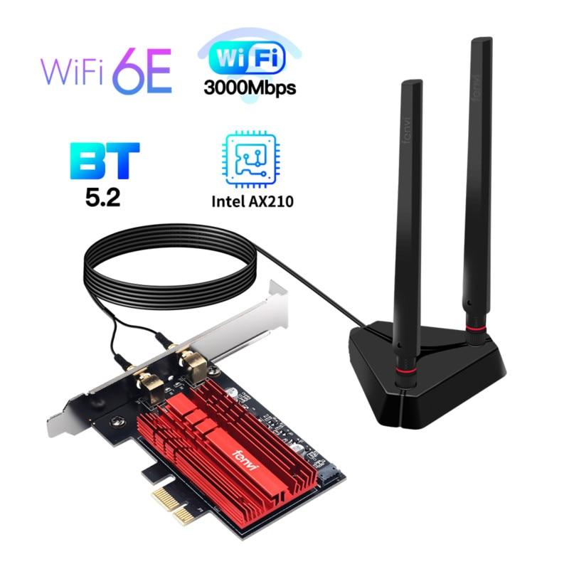 Wi-Fi 6E Intel AX210 Dual Band PCIe Wireless Wifi Network Adapter 2.4G/5G/6Ghz 2400M Wi-Fi Card Bluetooth 5.2 PCI Express Wlan 1