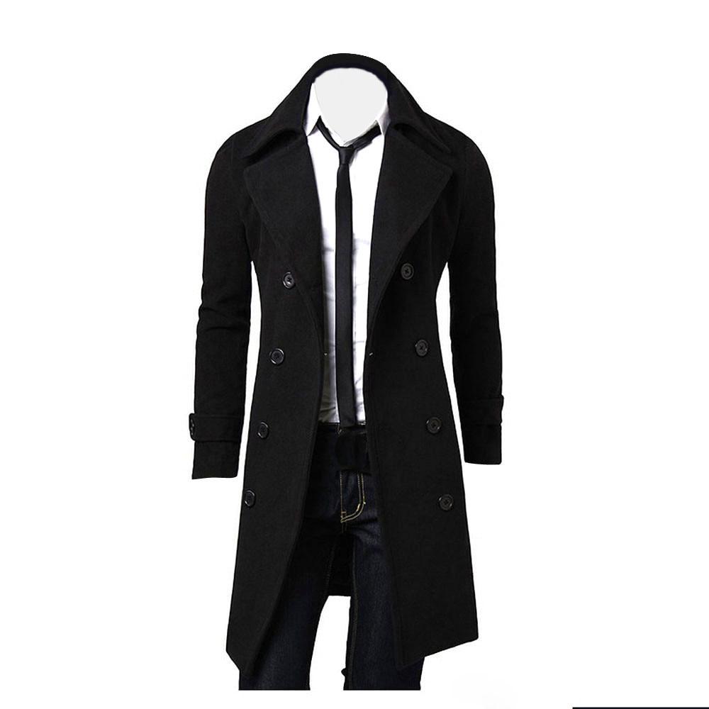 Mens Jacket Warm Winter Trench Long Coat Slim Fashion Casual Overcoat Parka