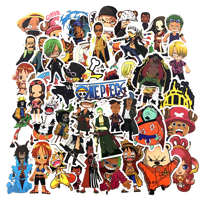 50Pcs/lot One Piece Stickers For Snowboard Luggage Laptop Car Fridge DIY Styling Vinyl Home Decor Pegatina