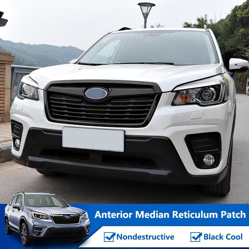 QHCP Front Grille Decorative Sticker Film Decoration Strips Trims Bright Black Fit For Subaru Forester 2019 Exterior Accessories