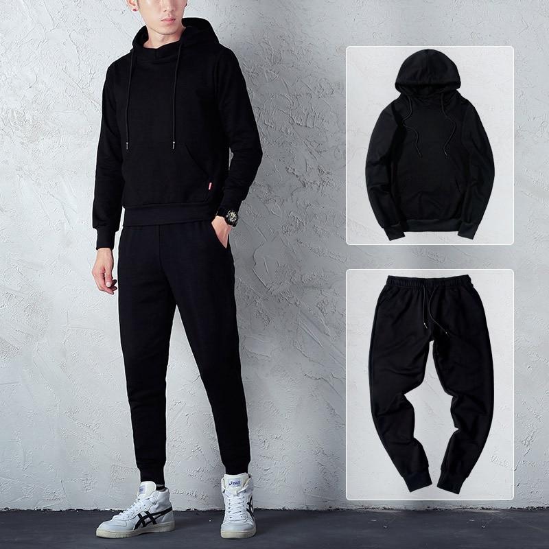 Autumn Outdoor Men Casual Hooded Pullover Slim Fit Slimming Trend Simple Long Sleeve Sports Hoodie Suit