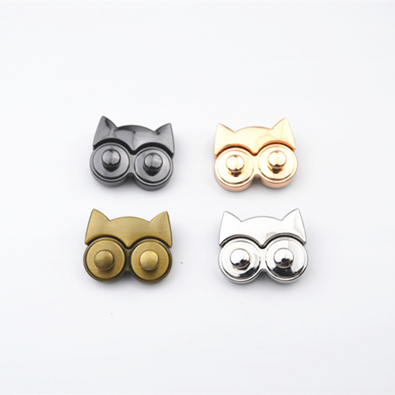 1pcs Metal Owl Shape Push Lock Bag Briefcase Spring Lock Snap Decorative Clasps Closure Leather Craft Diy Hardware Accessory