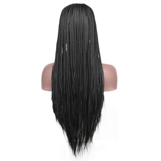 Charyzma 13x6 czarny włókno termoodporne do włosów plecione peruki syntetyczna koronka peruka Front z dzieckiem włosy Box warkocze peruki dla kobiet
