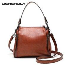 цена на 2019 Vintage Leather Bucket Bag Women Small Tote Bag Ladies Crossbody Bags Oil Wax Leather Handbags Luxury Brand Shoulder Bags