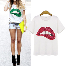 Plus Size Summer Women T shirt Fashion Mouth Cotton Sequins Casual Round Neck Short Sleeve T-Shirt New Brand Women Clothing цена 2017