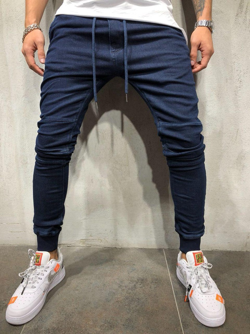 Denim Fabric Trousers Casual Sports Beam Feet Jean Pants New Mens Skinny Jeans Solid Color Blue Navy Blue