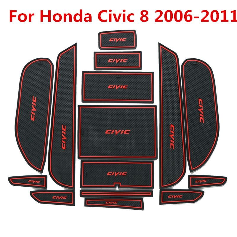 3D Rubber Mat For Honda Civic 8 2006-2011 Lnterior Anti Slip Mat Door Slot Pad Cup Cushion Groove Mat Car Accessories  15pcs