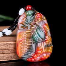 Chinese Colorful Jade Mammon Pendant Necklace Jewellery Fashion Hand-Carved Rela
