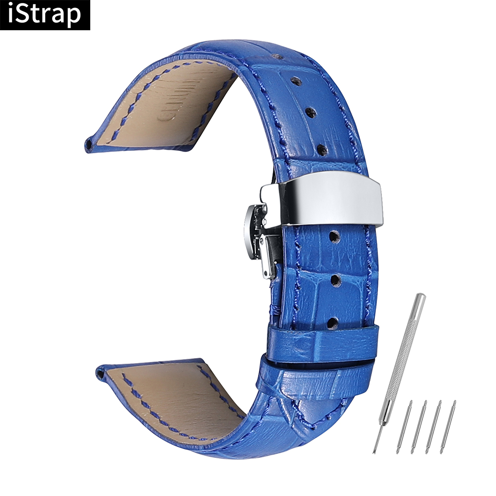 iStrap Genuine Calf Leather Watchbands Strap Soft Hand Stitched Silver Butterfly Clasp Bracelet Durable for Tissot IWC Casio