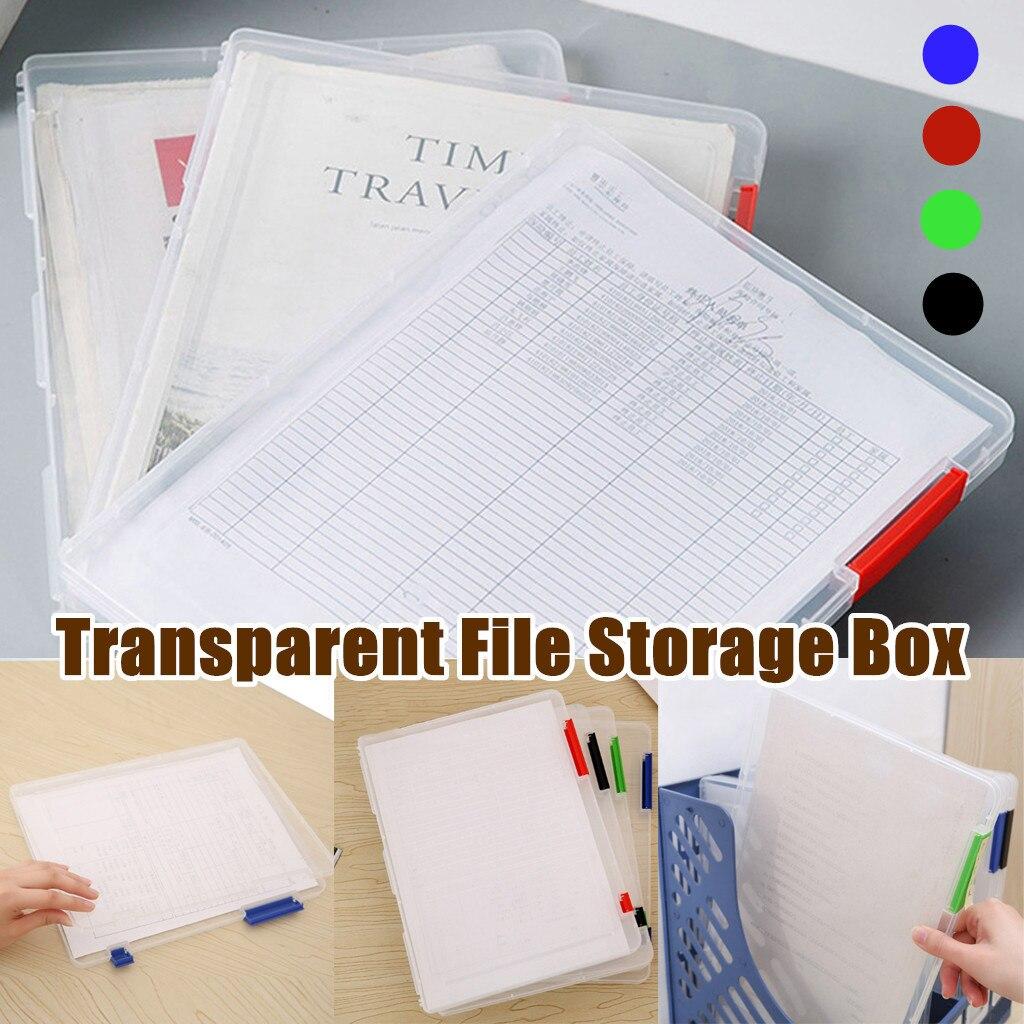 Organizador Escritorio A4 Transparent Storage Box Clear Plastic Document Paper Filling Case File Box Desk Organizer