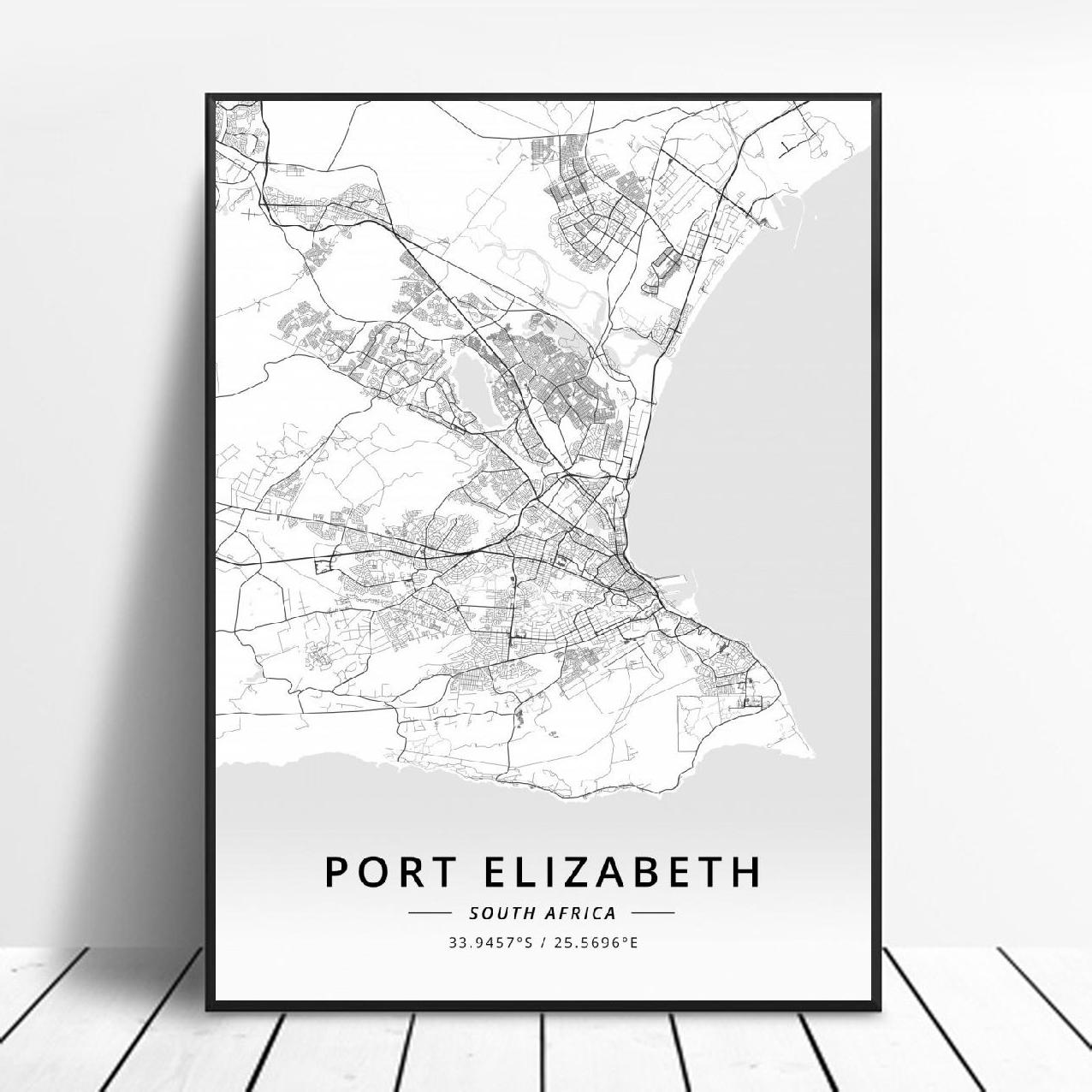 Port Elizabeth Stellenbosch Cape Town Johannesburg Pretoria <font><b>Durban</b></font> South Afric Canvas Art Map Poster image