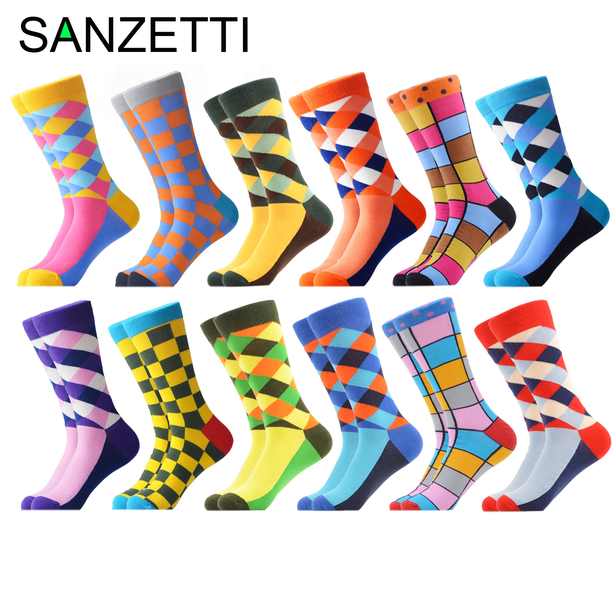 SANZETTI 12 Pairs/Lot Novelty Men's Colorful Combed Cotton Winter Warm Crew Socks Casual Personality Happy Wedding Dress Socks