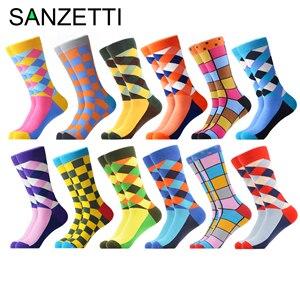 Image 1 - SANZETTI 12 çift/grup Yenilik erkek Renkli Penye Pamuk Kış sıcak Ekip Çorap Rahat Kişilik Mutlu düğün elbisesi Çorap
