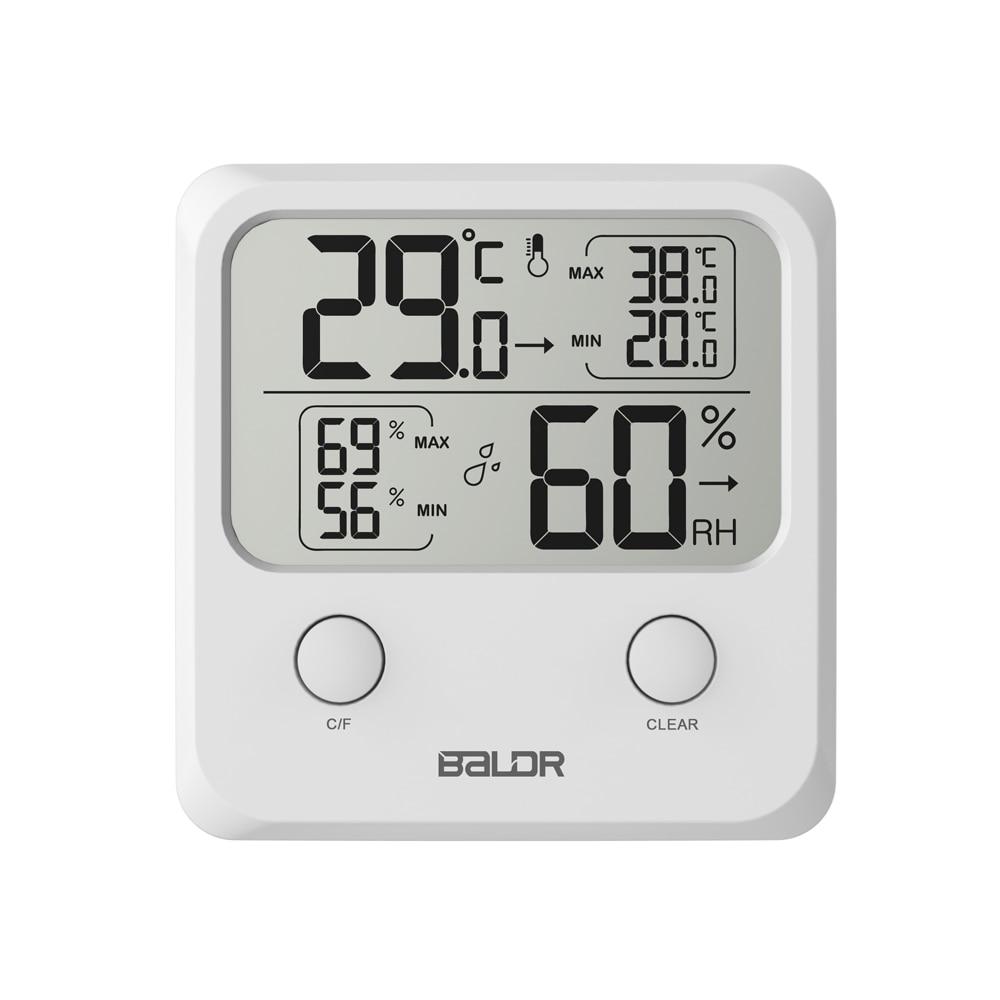 Baldr mini digital lcd termômetro higrômetro eletrônico temperatura parede umidade indooor mini medidor com suporte
