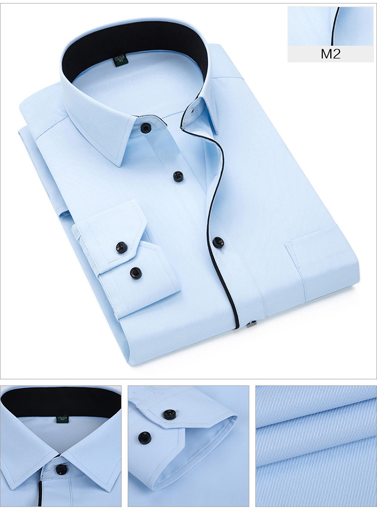 H825789df4a0d439e9cbe610fcd0d025bS Autumn New Men Shirt Smart Casual Long Sleeved Button Down Male Twill Shirts Formal Business White Blouse 4XL 5XL