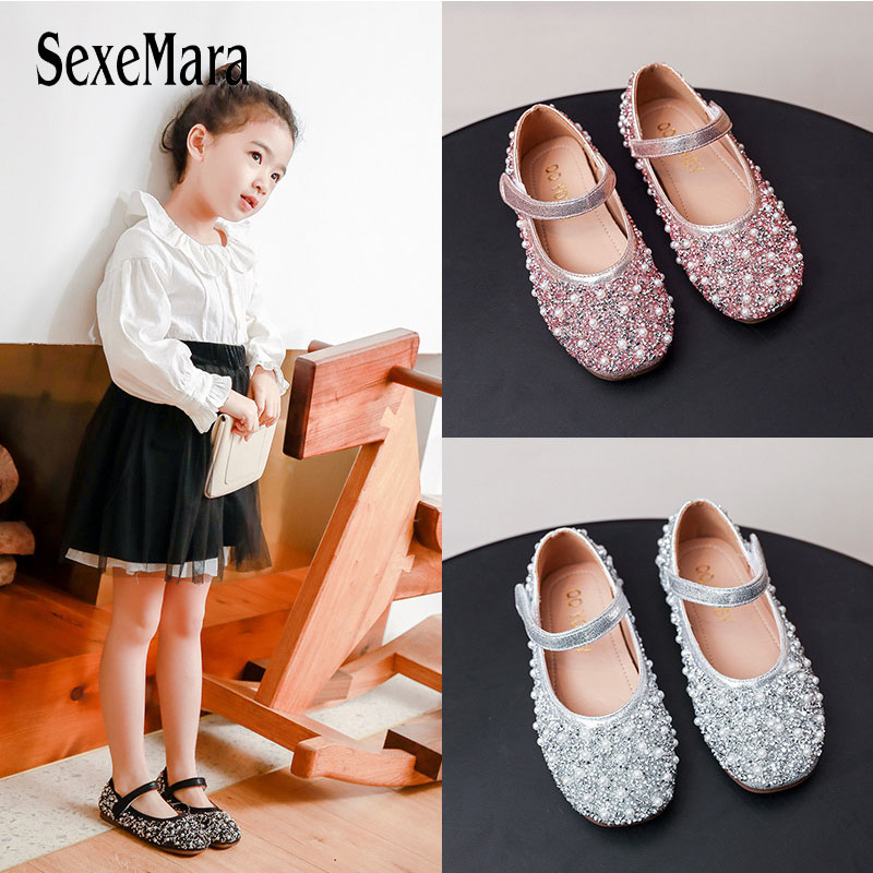 2020 New Girls Leather Shoes Sandals Kids Pearl Rhinestone Korean Style Princess Shoes Children Girls Dresses Shoes Prom D01215