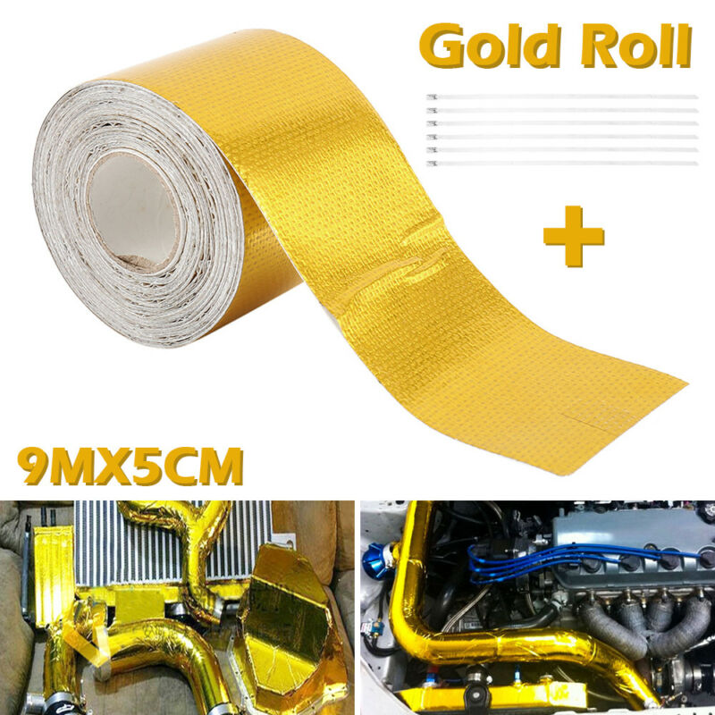 Gold 9m Roll Self Adhesive Reflective High-Temperature Heat Shield Wrap Tape New Arrival Pritection Car-styling Accessories