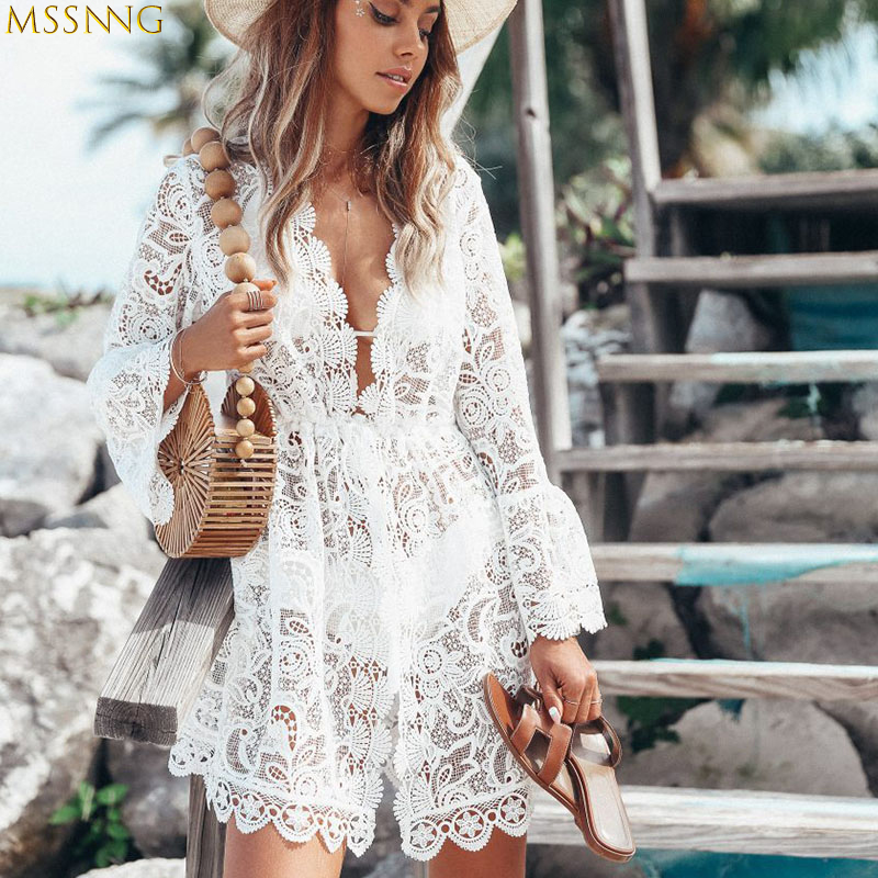 Women Bikini Cover Up Shorts Floral Lace Crochet Swimsuit Mesh Cover-Ups Bathing Suit Beachwear Tunic White Beach Dress Hot