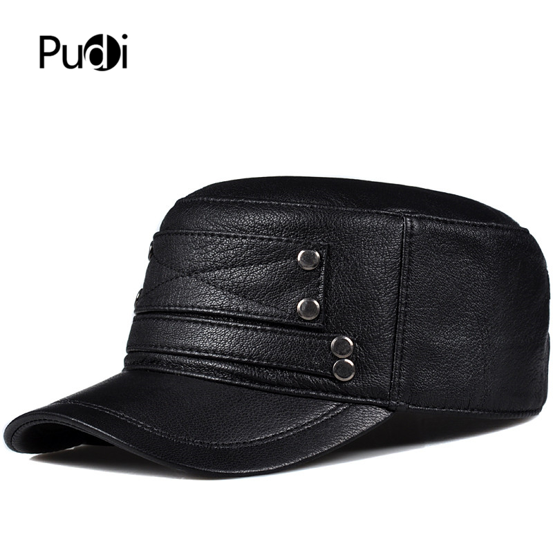 Pudi man genuine leather cap hat male winter army military baseball caps hats black brown HL818